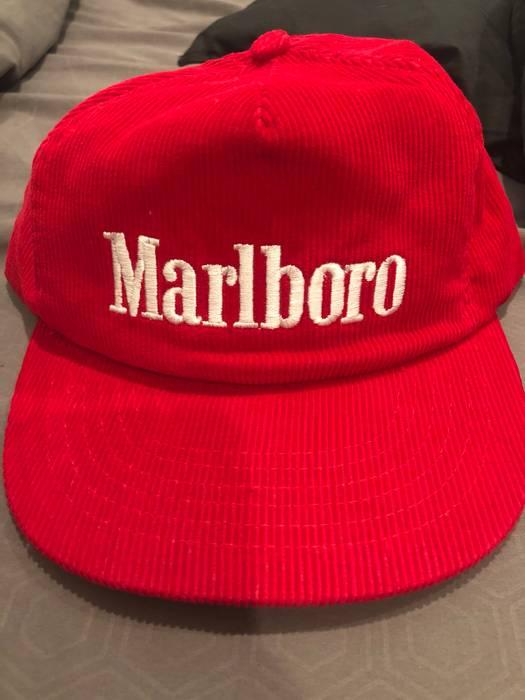 Marlboro Marlboro Corduroy Red Vintage Retro Cigarette Hat Size ONE SIZE 6d9c60074ee9