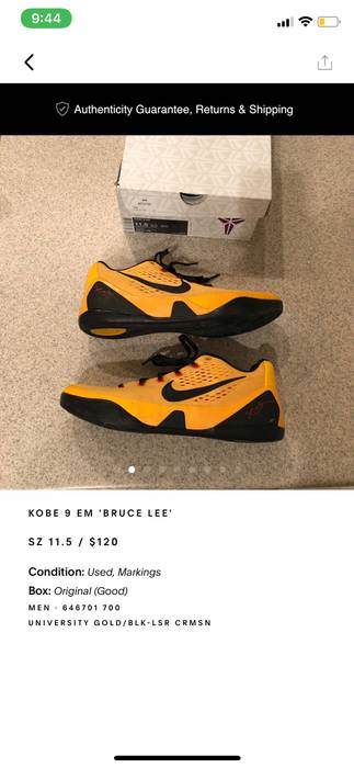 ca6aac4fa659 Nike Kobe 9 Bruce Lee Size 11.5 - Low-Top Sneakers for Sale - Grailed