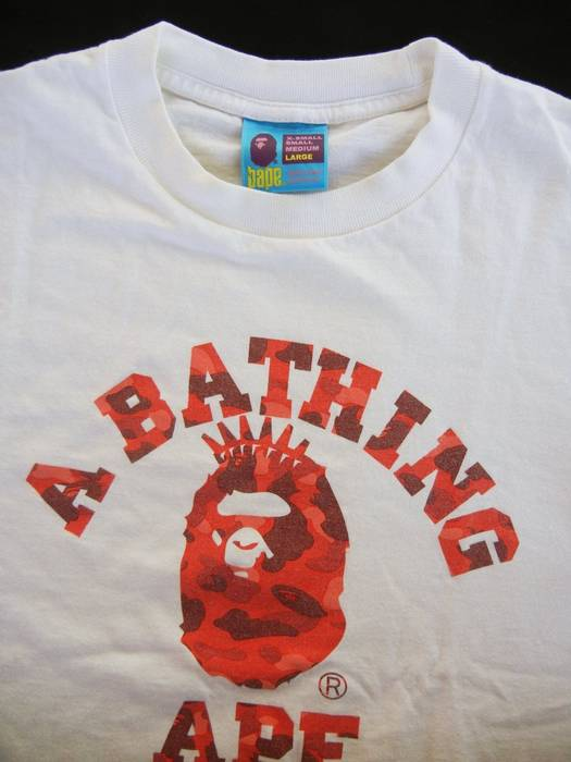 2ed012599429 Bape 90s BAPE A BATHING APE RED CAMOUFLAGE CROWN BAPE LARGE SZ Size US L
