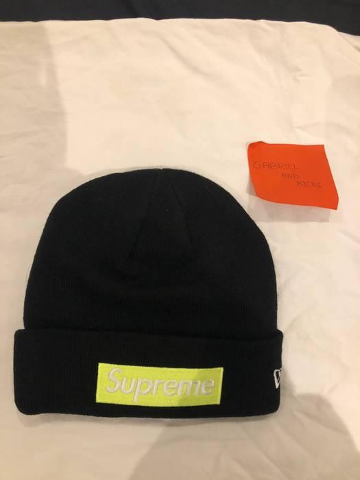 92656623495 Supreme Two Box Logo Beanies (Black on Black   Neon Green on Black) Size