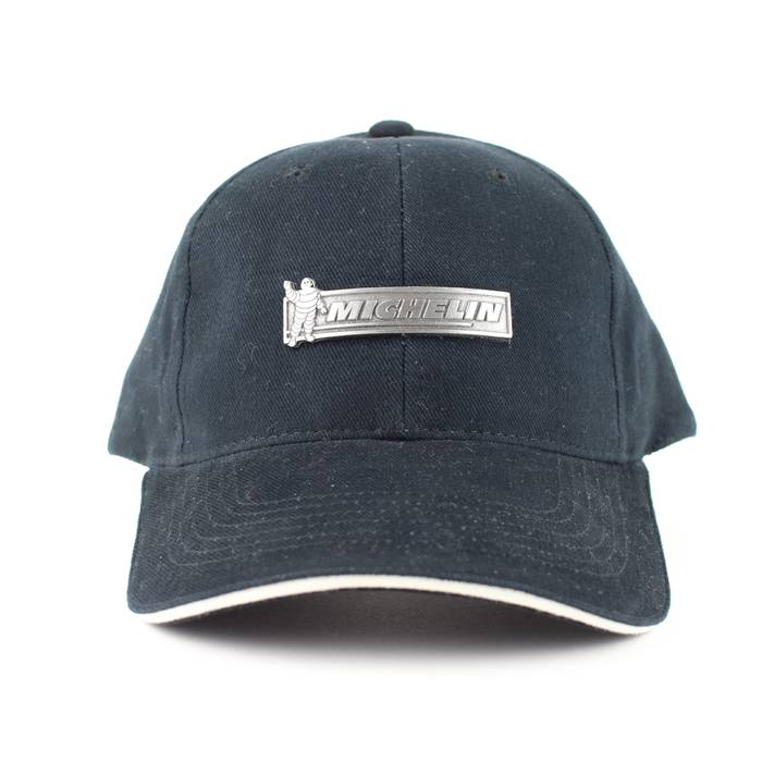 40b3df8c53f7f Vintage NEW Michelin Tires Black Metal Accent Strapback Baseball Hat Size  ONE SIZE - 1