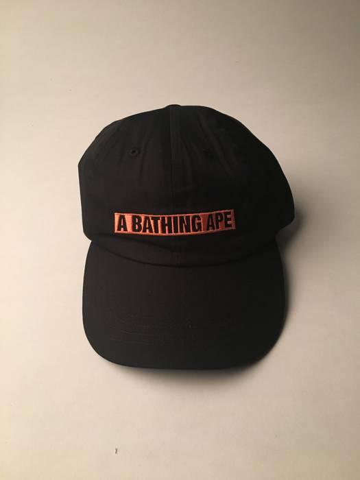 Bape A BATHING APE BAPE BOX LOGO BLACK ORANGE DAD HAT CAP Size one ... b840af095ed