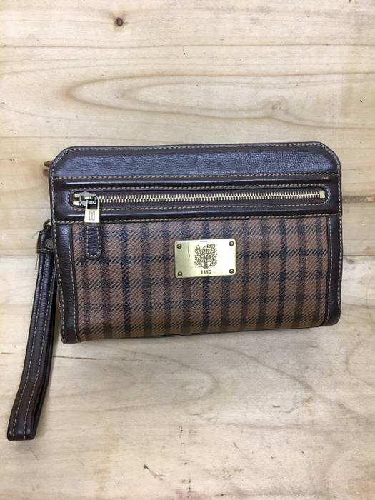 Daks London Rare Genuine Leather Clutch Bag Plaid Pattern With Authenticity Hologram Size One