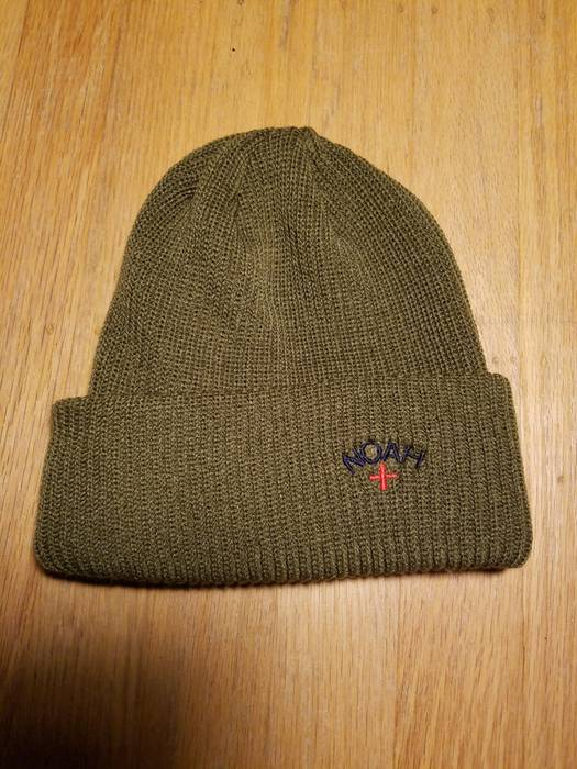 Noah Noah NY Olive Green Core Logo Embroidered Beanie Knit Hat Size ... 86051d4f317