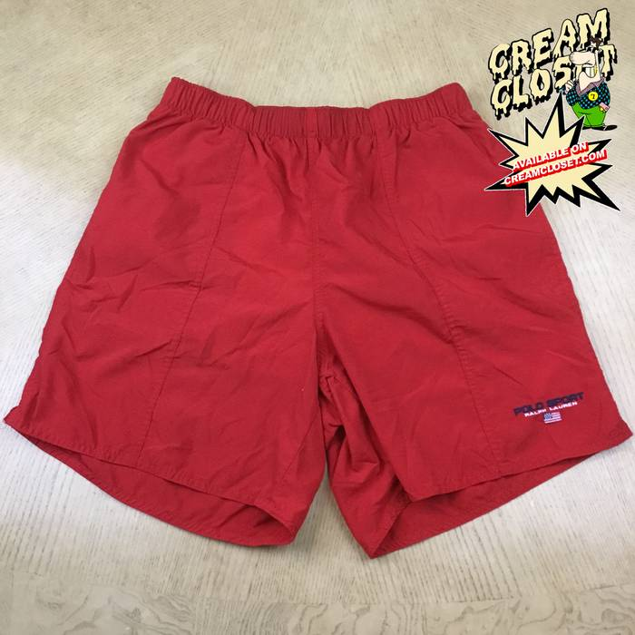 b4cc8e2f4 Polo Ralph Lauren. VINTAGE POLO SPORT SPELL OUT EMBROIDERED LOGO SWIM  TRUNKS SHORTS IN RED. Size  US 30   EU 46