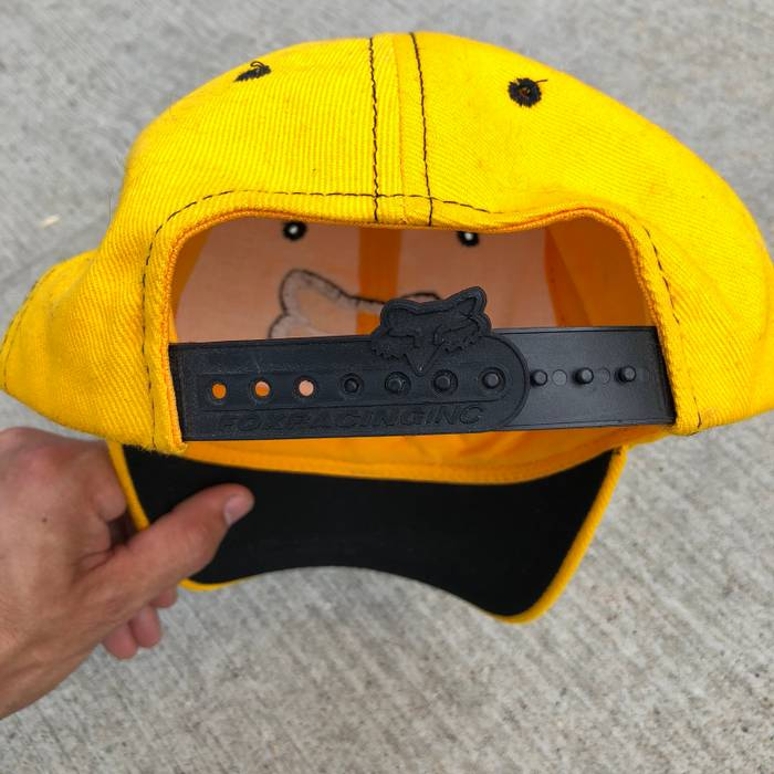 reputable site 5ab12 1bd2a ... low price vintage vintage 00s y2k fox racing big logo yellow adjustable  snapback dad 1d81b bcb1c