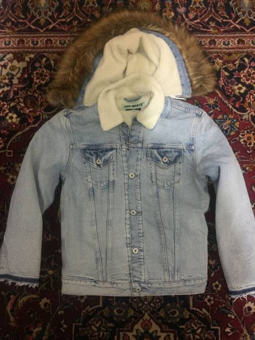 Off White Levis X Off White Shearling Denim Jacket Size Xl Heavy