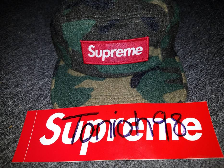 5f3572096e5 Supreme Camo Wool Camp Cap Size one size - Hats for Sale - Grailed
