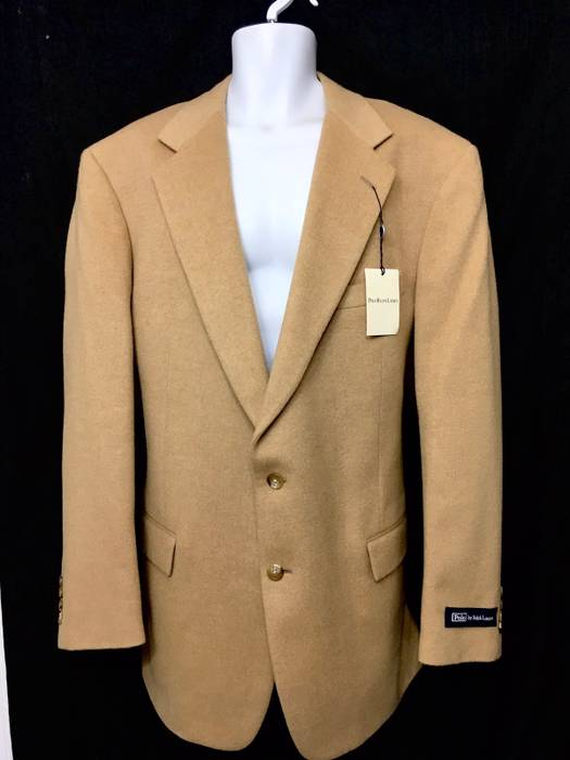 Polo Ralph Lauren Beige 2 On 100 Camel Hair Coat Size 46l