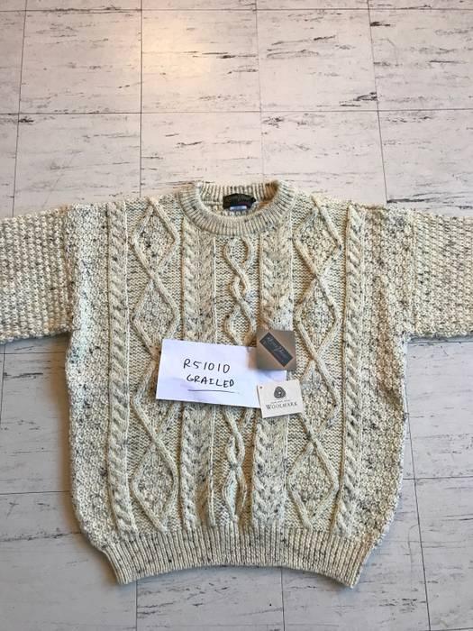 796dd7dbfdd3 Brooks Brothers Riverview Aran Knit Irish Wool sweater cream off ...