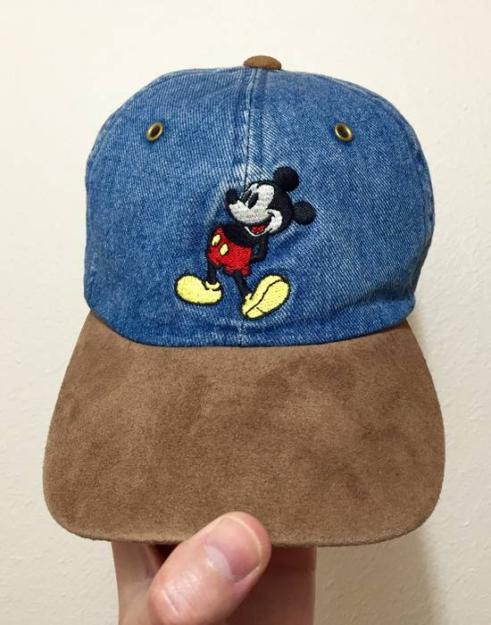 Vintage 90s Mickey Mouse Logo Denim   Suede Dad Hat Cap Size ONE SIZE ca441a6f5fc