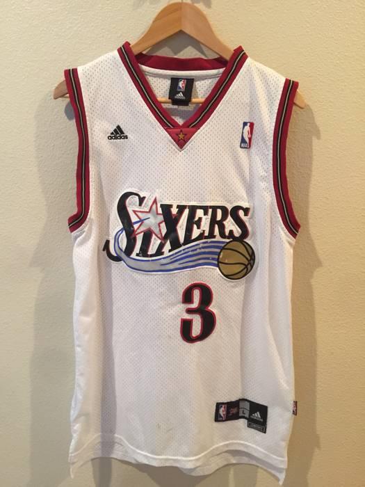 Adidas Vintage Adidas Allen Iverson Jersey 76ers Home NBA Basketball ... a4f6f7779