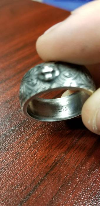 b79a82f760a23f Gucci Gucci Gatto Ring with Feline Head in Aged Sterling Silver Size 11  Size 26 -