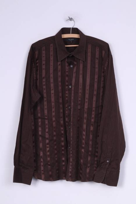 25d062015543 Ted Baker Ted Baker London Mens 6 XL Casual Shirt Brown Long Sleeve ...