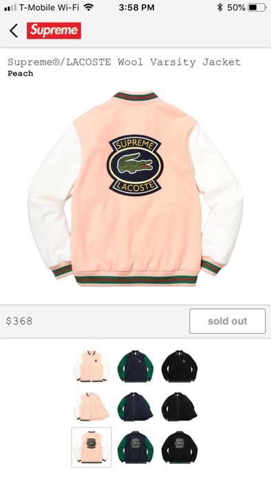 Supreme Supreme Lacoste Varsity Jacket Size L Long Sleeve T Shirts