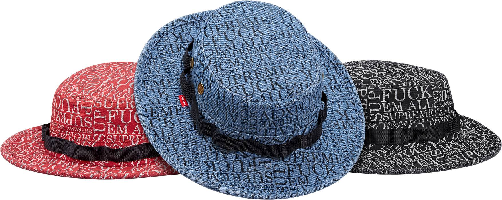 659d8a0feab Supreme Fuck  Em All Denim Boonie (Red) Size one size - Periodicals ...