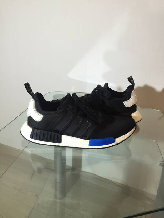 89183bed80c21 Adidas NMD R1 Core Black Blue White knit S79162 OG Boost Mesh runner ...