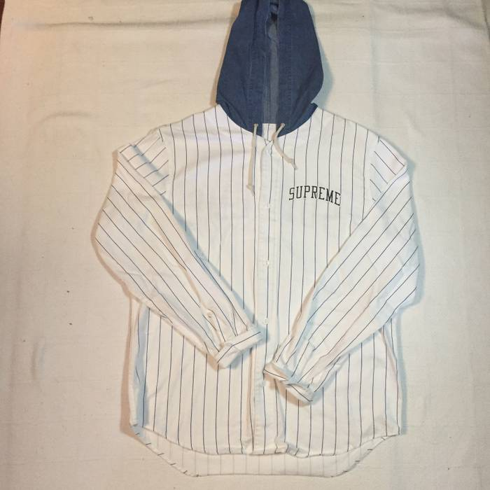 49fd08b1c11 Supreme Denim Hooded Baseball Shirt (See Pics) Size l - Shirts ...