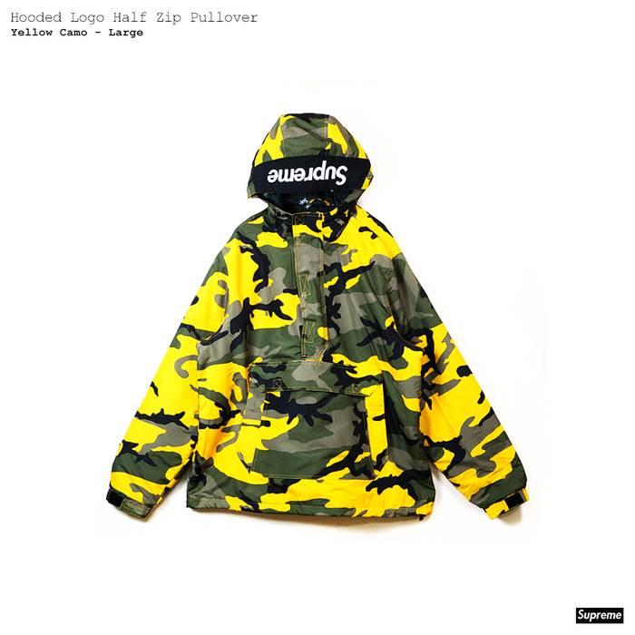 Supreme Hooded Logo Half Zip Pullover - Yellow Camo Large Size US L   EU 57796e541
