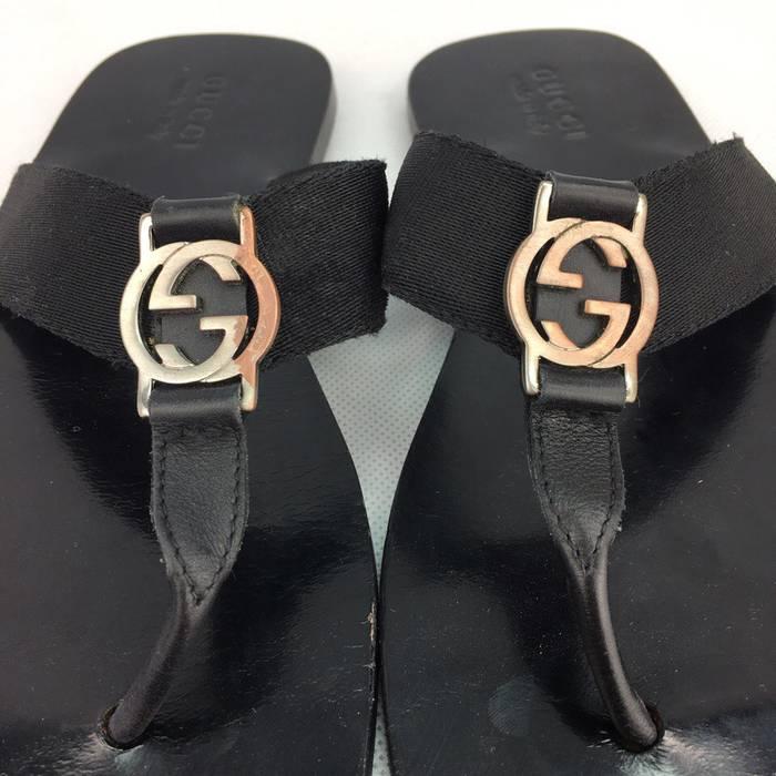6037188ddecdb Gucci GUCCI Men s Black Leather Slilver GG Logo Thong Sandals   Flip Flops  Size US 9.5