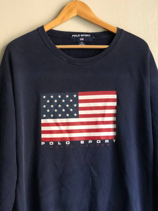 ce3727b657be6 Polo Ralph Lauren. Vintage POLO SPORT Spell Out Crewneck American Flag  Sweater