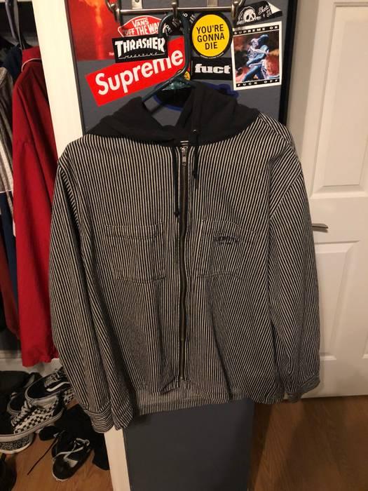 5c7bcc65ea9 Supreme Supreme Hooded Stripe Denim Zip Up Shirt Size US L   EU 52-54
