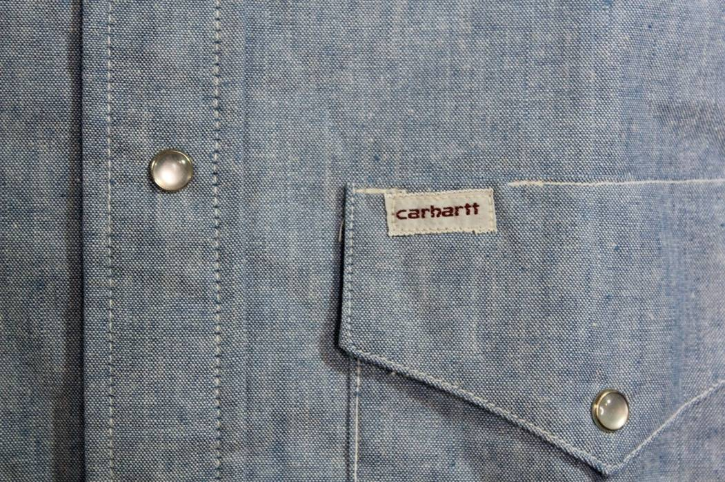 6cdc657f615 Vintage Vintage 80s New Carhartt Mens 15.5 33 Chambray Western Pearl Snap  Button Shirt Size US