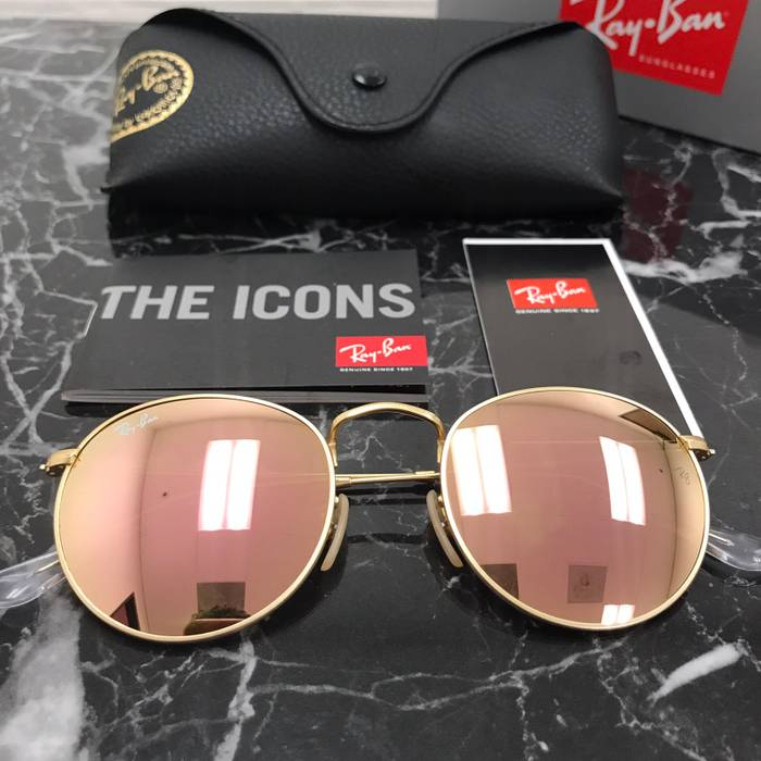 fc32b2ed9f RayBan. Rayban Round Metal Gold Brown Mirror Pink Sunglasses NEW. Size  ONE  SIZE
