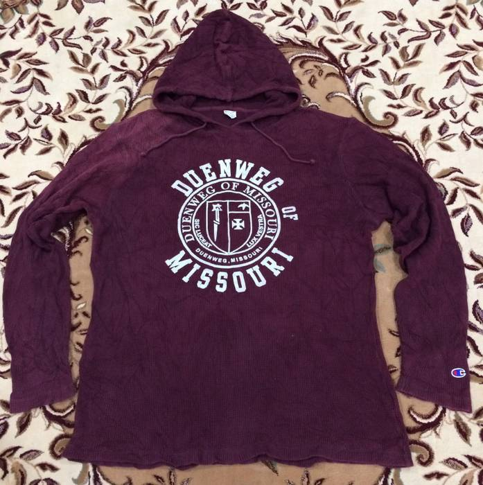 820b34fb743 Vintage Vtg 90 s Champion Sweatshirt Hoodie Reverse Weave Duenmeg Of  Missouri Maroon Color XLarge Size US