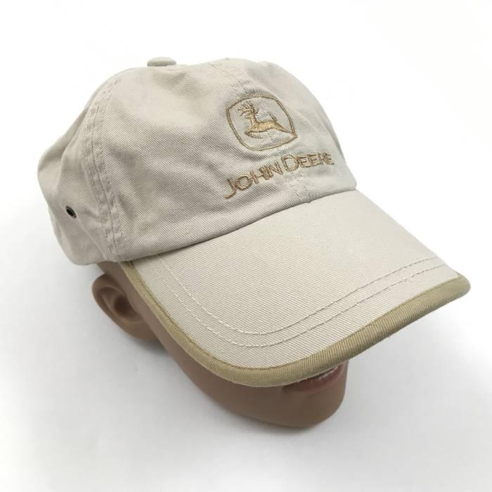Vintage JOHN DEERE Dad Hat Tan Khaki Strapback Adjustable Curved Bil Vented  Baseball Cap Size ONE 6ff74e57678