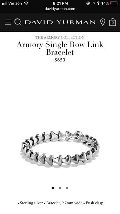 David Yurman Armory Collection Bracelet Size One