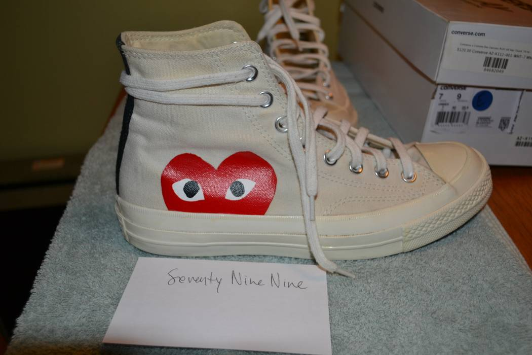 Converse  Hidden Heart  High Top Sneakers - White Canvas Size 7 - Hi ... 3f93aad75