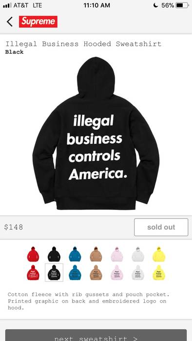 6bd27d85798a Supreme Supreme Illegal Business Controls America Hoodie Size US L   EU  52-54