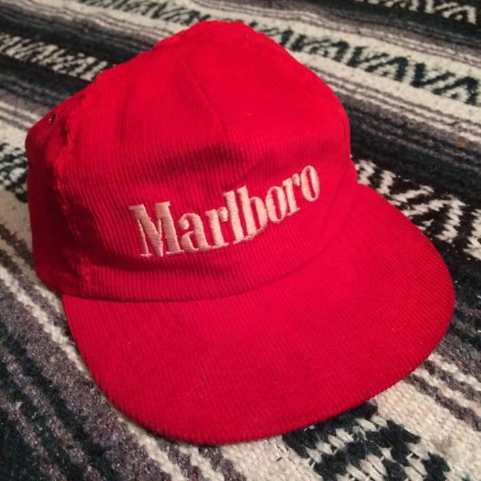 Vintage Vintage Marlboro Cigarettes Red Corduroy Snapback Hat USA Made  Adjustable Embroidered 80s 90s VTG Size 329915bac64