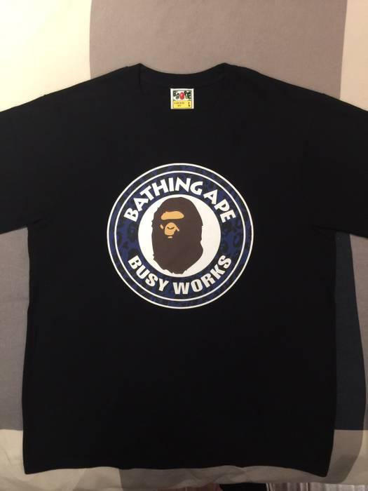 b550d848cd0 Bape BAPE BUSY WORKS BLACK TEE A Bathing Ape Shirt Size l - Short ...