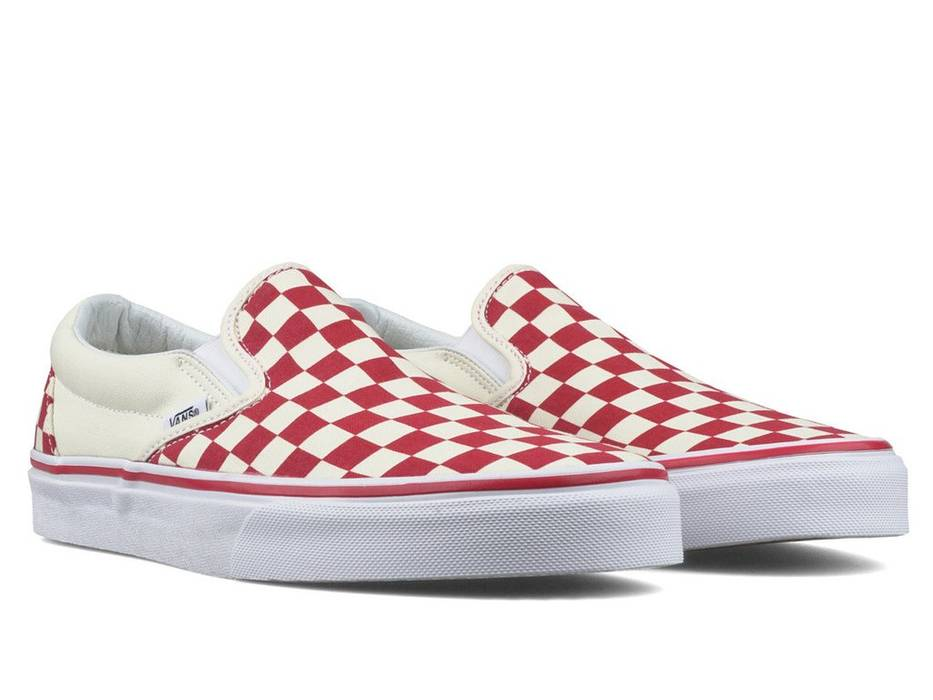 75e2bfb3bfd Vans Red Checkerboard Slip Ons Size 10.5 - Low-Top Sneakers for Sale ...