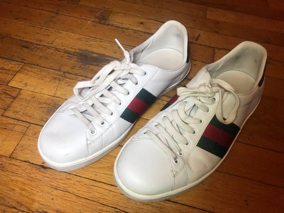 90606333516 Gucci Gucci Men s Ace Leather Sneaker - White Stripe Size 10.5 - Low ...