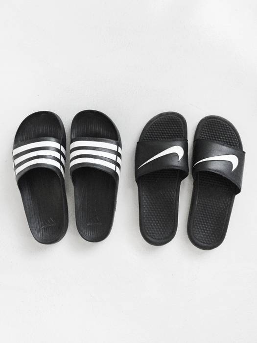 dc19f0593b1ee Adidas 2 Pairs of Nike   Adidas Logo Slides Size 11 - Slip Ons for ...