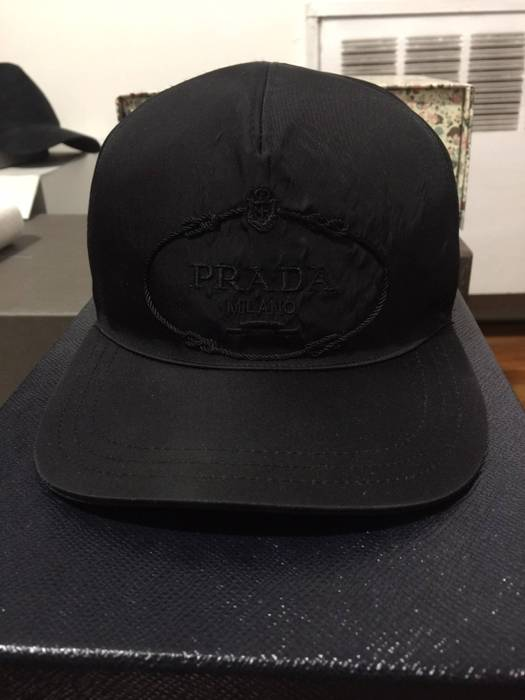 a8bcd733dc9 Prada Black Nylon Baseball Cap Size one size - Hats for Sale - Grailed