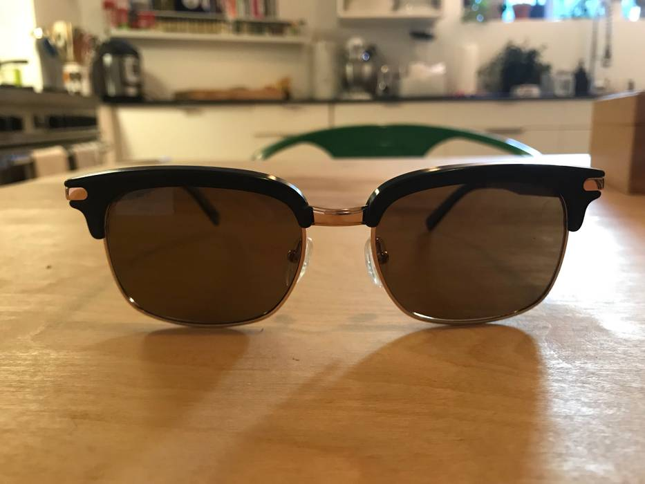 195a7af6c9 Brioni Handmade Horn And Horn Clubmaster Shape Sunglasses Size one ...