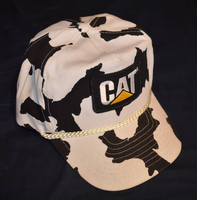 Vintage Vintage Caterpillar CAT Patch Cow All Over Pattern 6 Panel Snapback  Rope Hat Size ONE 5aa97536b8a