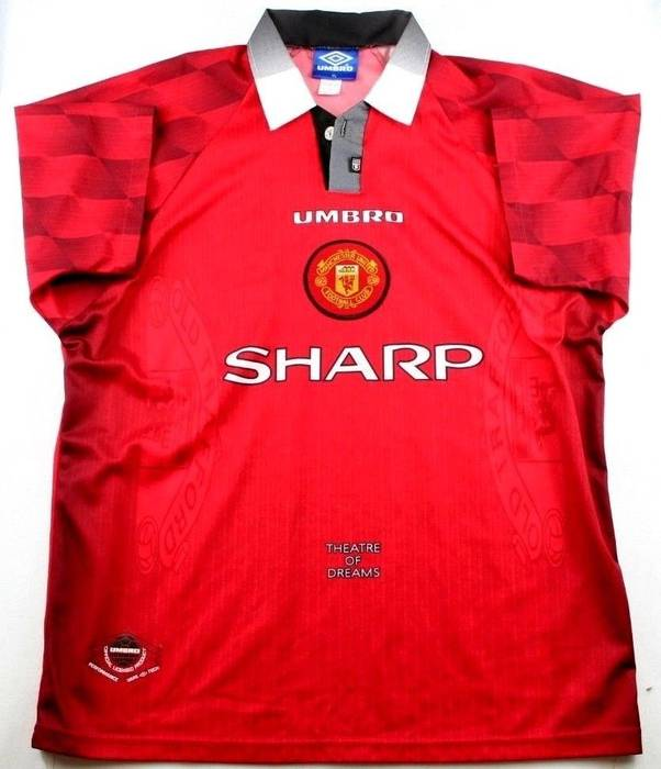 f11a378e5 Umbro VINTAGE Umbro Manchester United SHARP Theatre of Dreams 1996-97 Jersey  Size US XL