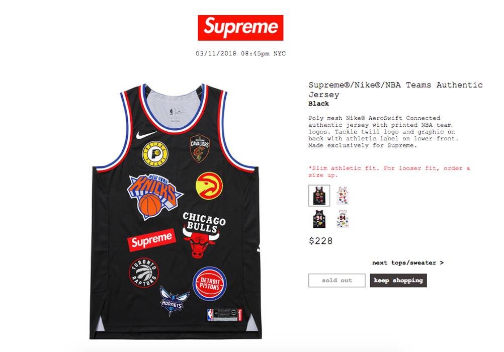Supreme Supreme Nike NBA Teams Authentic Jersey Size m - Jerseys for ... eede0f526