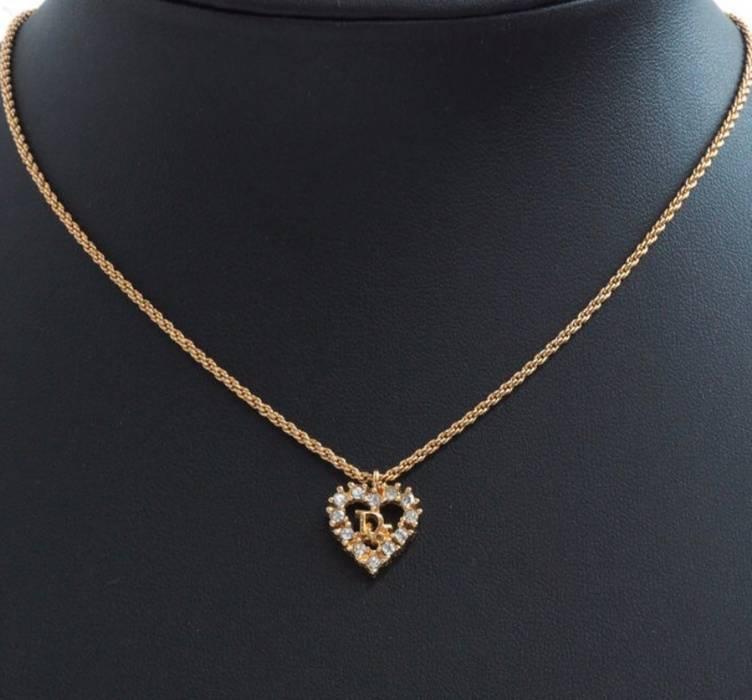 0ef992253f72 Dior Christian Dior Chain CD Crystal Heart Charm Pendant Gold Tone ...