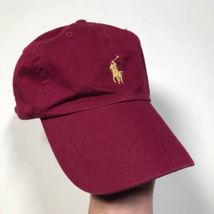 Polo Ralph Lauren Vintage 90 s 00 s Polo Ralph Lauren maroon burgundy red  embroidered adjustable dad hat 0ed4267a8e6