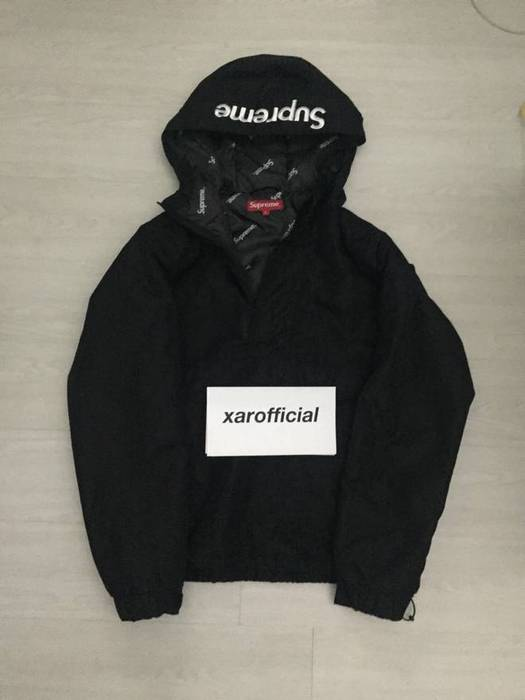 Supreme Black Hooded Logo Half Zip Pullover Size s - Parkas for Sale ... cc80ccd61