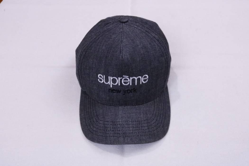 5f075173433 Supreme Supreme Classic Logo Denim Chambray Snapback Hat 5 Panel ...