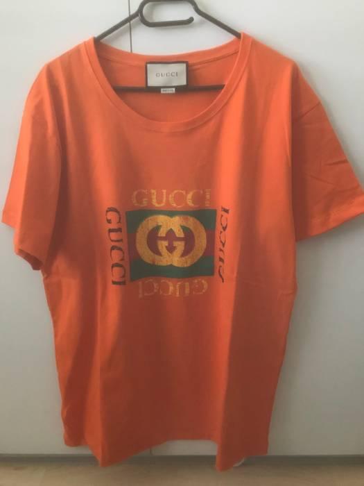 6d98dc2c591 Gucci Gucci Orange Square Box Logo T-Shirt Size l - Short Sleeve T ...