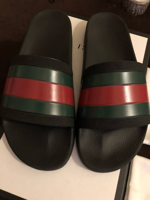 a1ec788369b227 Gucci Gucci Pursuit 72 Black Slides Size 10 US Flip Flops Sandals Green Size  US 10
