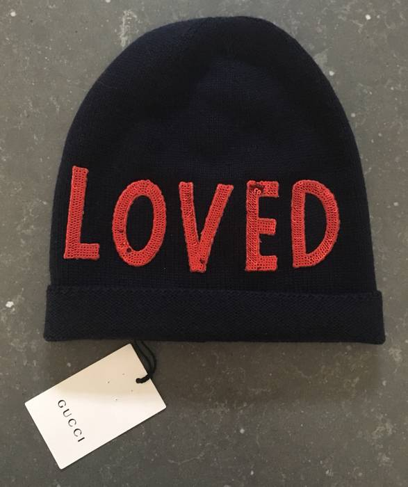 33d91b2208da1 Gucci Embroidered Dark Blue Knitted Hat With LOVED In Red Sequins. Size ONE  SIZE